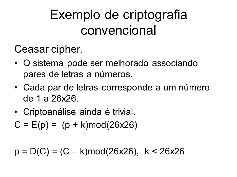 Exemplo de criptografia convencional Ceasar cipher. O sistema pode ser melhorado associando pares de letras a números. Cada par de letras corresponde