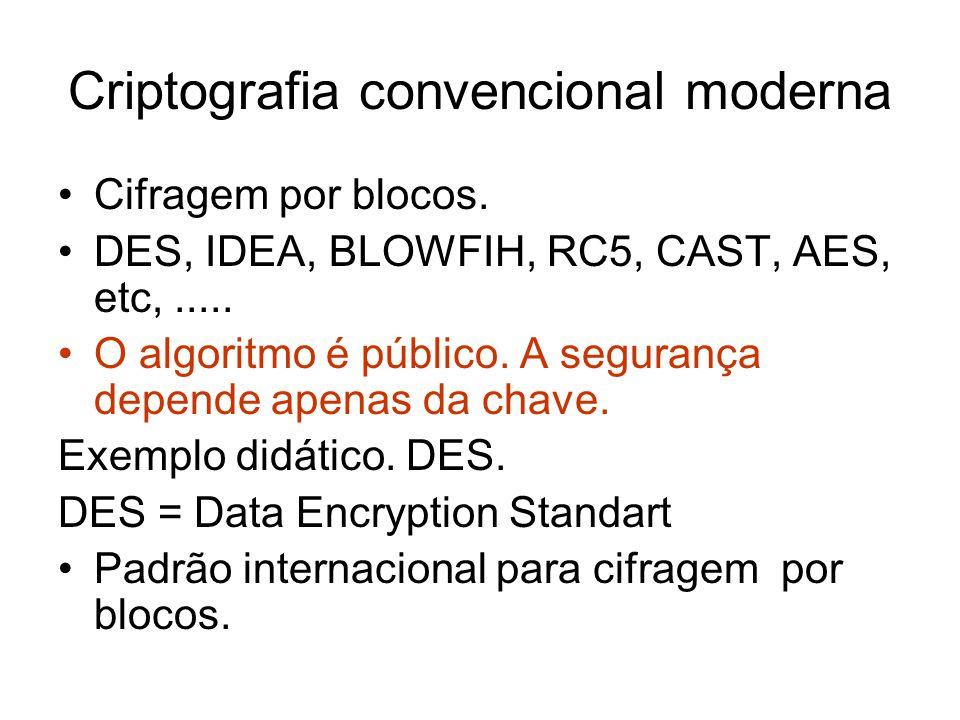 Criptografia convencional moderna Cifragem por blocos. DES, IDEA, BLOWFIH, RC5, CAST, AES, etc,..... O algoritmo é público. A segurança depende apenas