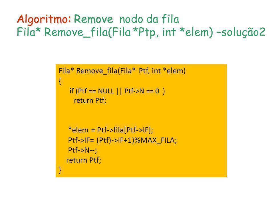 Algoritmo: Remove Algoritmo: Remove nodo da fila Fila* Remove_fila(Fila *Ptp, int *elem) –solução2 Fila* Remove_fila(Fila* Ptf, int *elem) { if (Ptf =
