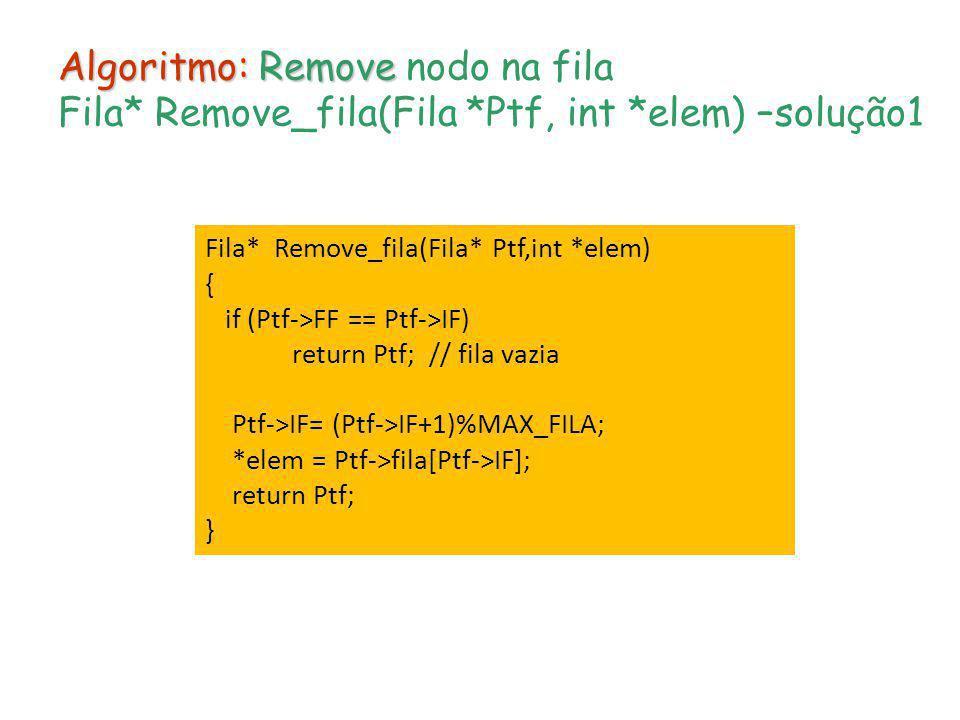 Algoritmo: Remove Algoritmo: Remove nodo na fila Fila* Remove_fila(Fila *Ptf, int *elem) –solução1 Fila* Remove_fila(Fila* Ptf,int *elem) { if (Ptf->F
