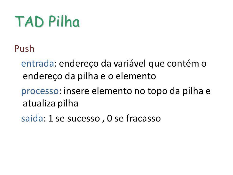 TAD Pilha Push entrada: endereço da variável que contém o endereço da pilha e o elemento processo: insere elemento no topo da pilha e atualiza pilha s
