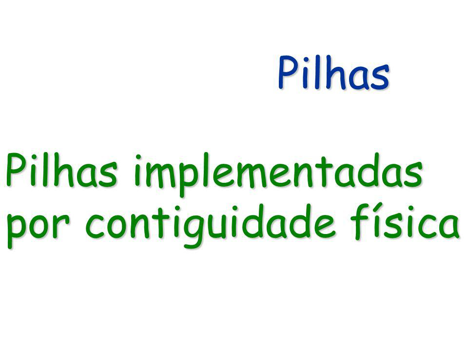 Pilhas Pilhas Pilhas implementadas por contiguidade física