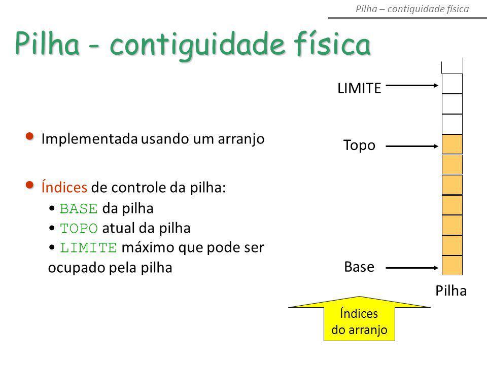 Pilha - contiguidade física LIMITE Topo Base Pilha Índices do arranjo Pilha – contiguidade física Implementada usando um arranjo Índices de controle d