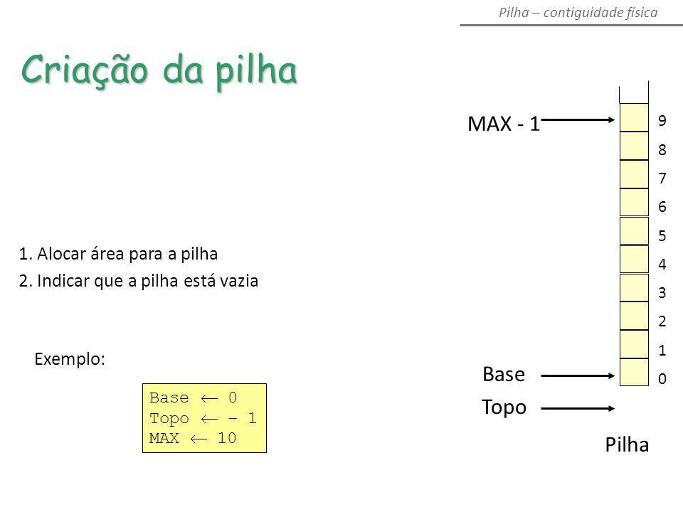 MAX - 1 Topo Base Pilha 1. Alocar área para a pilha 2. Indicar que a pilha está vazia Exemplo: Base 0 Topo – 1 MAX 10 Criação da pilha Pilha – contigu