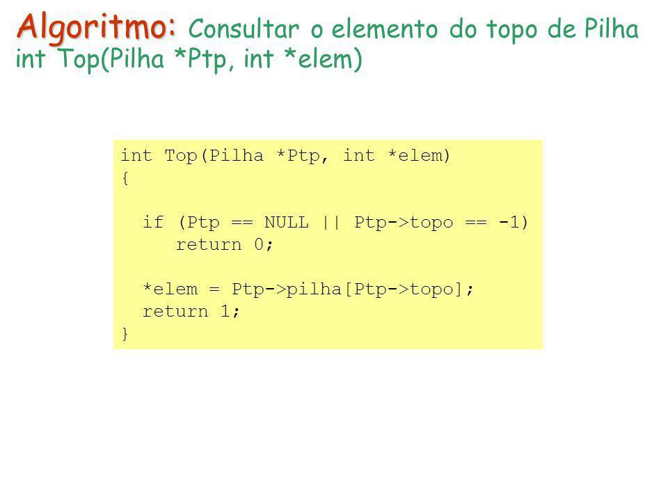int Top(Pilha *Ptp, int *elem) { if (Ptp == NULL || Ptp->topo == -1) return 0; *elem = Ptp->pilha[Ptp->topo]; return 1; } Algoritmo: Algoritmo: Consul