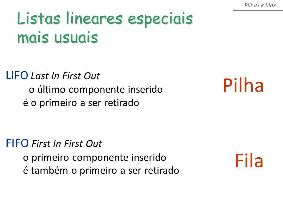 Pilha Listas lineares especiais mais usuais Pilhas e filas Fila LIFO Last In First Out o último componente inserido é o primeiro a ser retirado FIFO F