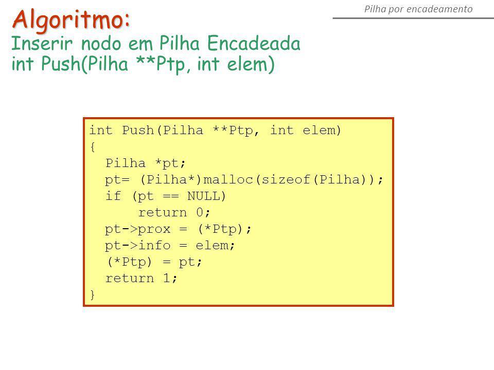 int Push(Pilha **Ptp, int elem) { Pilha *pt; pt= (Pilha*)malloc(sizeof(Pilha)); if (pt == NULL) return 0; pt->prox = (*Ptp); pt->info = elem; (*Ptp) =