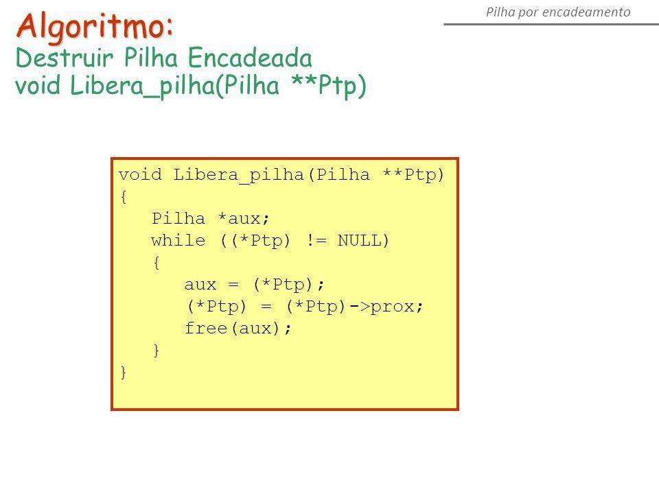 Pilha por encadeamento Algoritmo: Destruir Pilha Encadeada void Libera_pilha(Pilha **Ptp) { Pilha *aux; while ((*Ptp) != NULL) { aux = (*Ptp); (*Ptp)