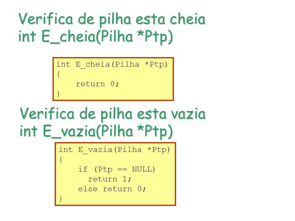 Verifica de pilha esta cheia int E_cheia(Pilha *Ptp) Verifica de pilha esta vazia int E_vazia(Pilha *Ptp) int E_cheia(Pilha *Ptp) { return 0; } int E_