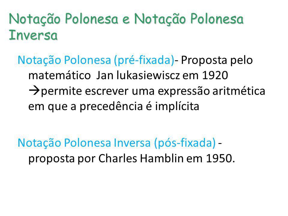 Notação Polonesa e Notação Polonesa Inversa Notação Polonesa (pré-fixada)- Proposta pelo matemático Jan lukasiewiscz em 1920 permite escrever uma expr