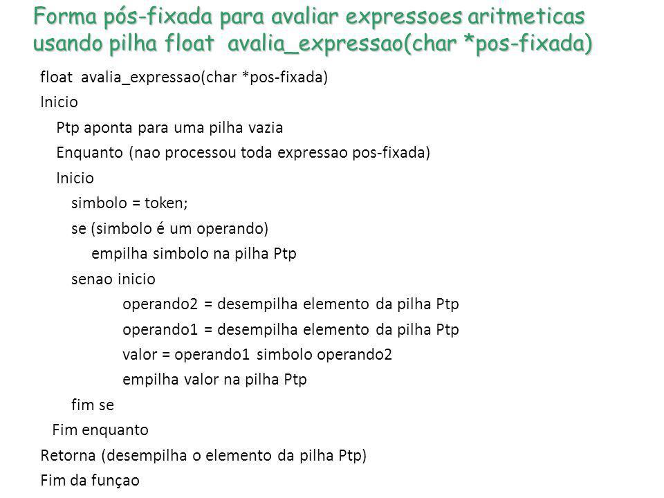 Forma pós-fixada para avaliar expressoes aritmeticas usando pilha float avalia_expressao(char *pos-fixada) float avalia_expressao(char *pos-fixada) In