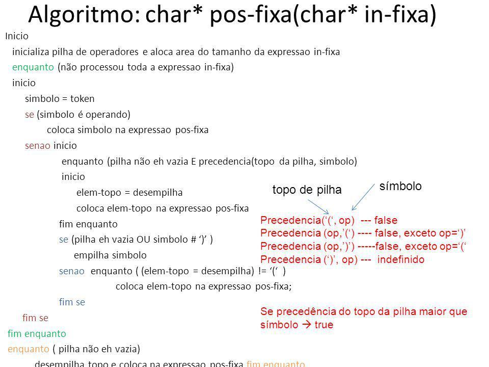 Algoritmo: char* pos-fixa(char* in-fixa) Inicio inicializa pilha de operadores e aloca area do tamanho da expressao in-fixa enquanto (não processou to