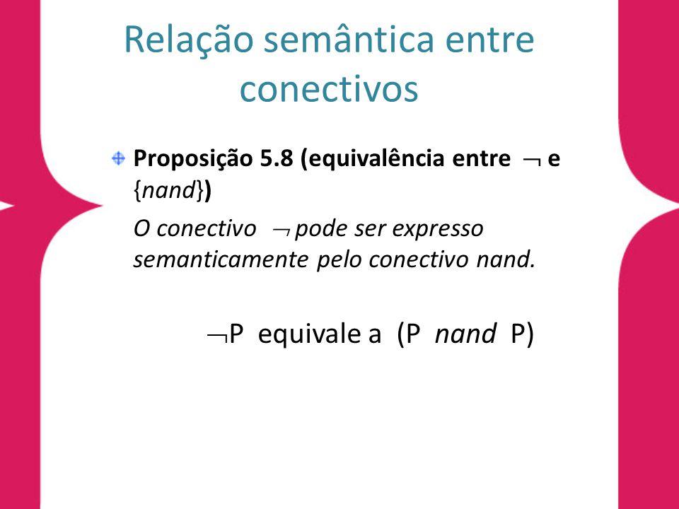 Relação semântica entre conectivos Proposição 5.8 (equivalência entre e {nand}) O conectivo pode ser expresso semanticamente pelo conectivo nand.