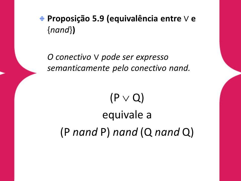 Proposição 5.9 (equivalência entre e {nand}) O conectivo pode ser expresso semanticamente pelo conectivo nand.