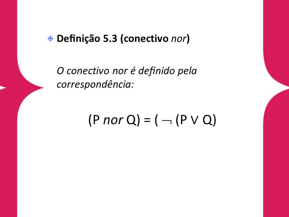 Denição 5.3 (conectivo nor) O conectivo nor é denido pela correspondência: (P nor Q) = ( (P Q)