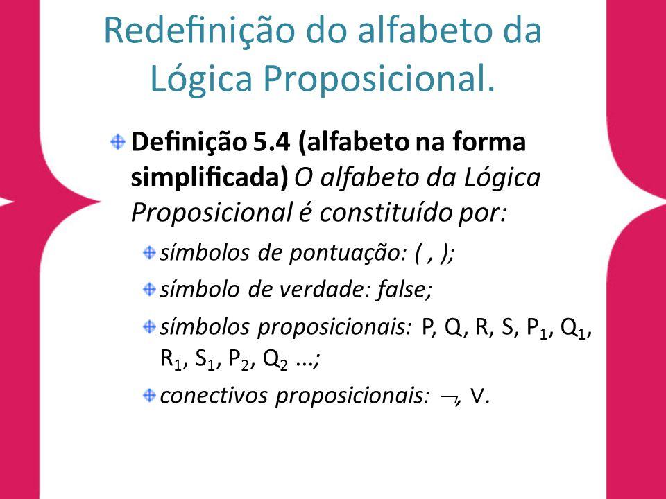 Redenição do alfabeto da Lógica Proposicional.