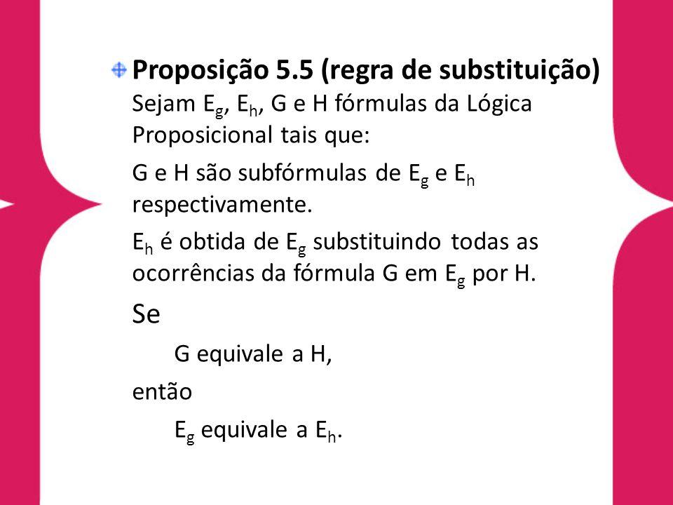 Relação semântica entre conectivos Proposição 5.7 (relação semântica entre conectivos) Seja E uma fórmula da Lógica Proposicional.