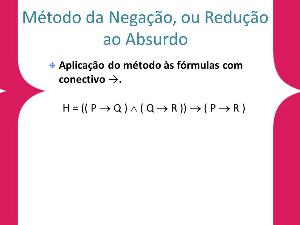 Método da Negação, ou Redução ao Absurdo Aplicação do método às fórmulas com conectivo. H = (( P Q ) ( Q R )) ( P R )