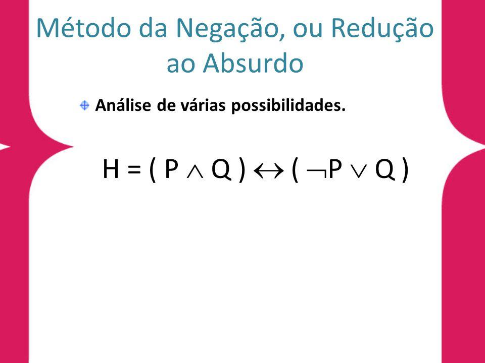 Método da Negação, ou Redução ao Absurdo Análise de várias possibilidades. H = ( P Q ) ( P Q )