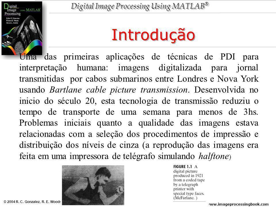 www.imageprocessingbook.com © 2004 R. C. Gonzalez, R. E. Woods, and S. L. Eddins Digital Image Processing Using MATLAB ® Introdução Uma das primeiras