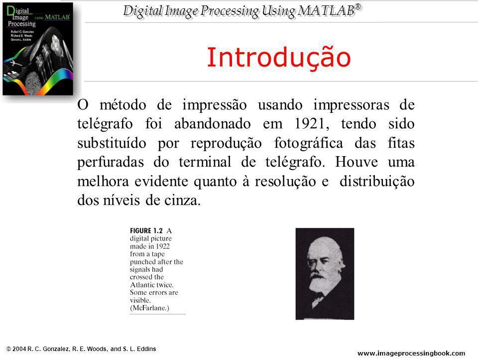www.imageprocessingbook.com © 2004 R. C. Gonzalez, R. E. Woods, and S. L. Eddins Digital Image Processing Using MATLAB ® O método de impressão usando
