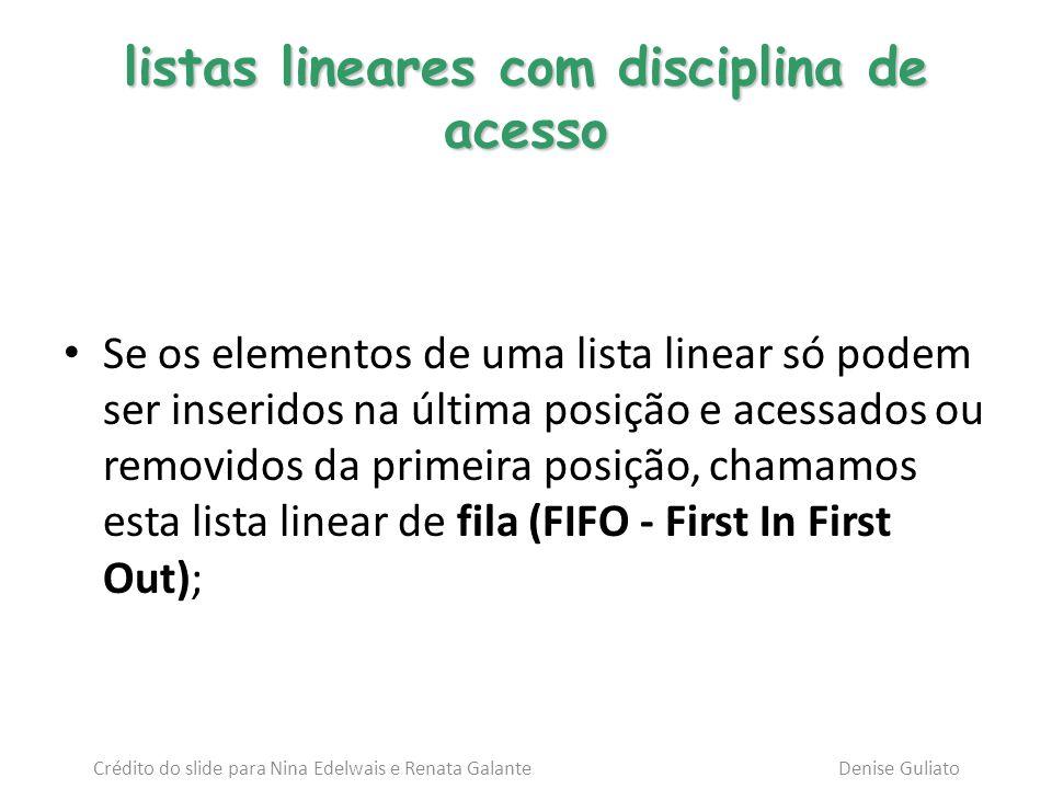 listas lineares com disciplina de acesso Se os elementos de uma lista linear só podem ser inseridos na última posição e acessados ou removidos da prim