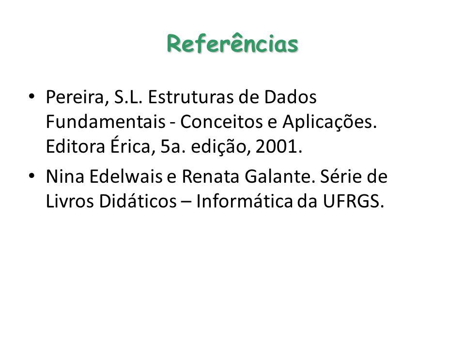 Referências Pereira, S.L. Estruturas de Dados Fundamentais - Conceitos e Aplicações. Editora Érica, 5a. edição, 2001. Nina Edelwais e Renata Galante.