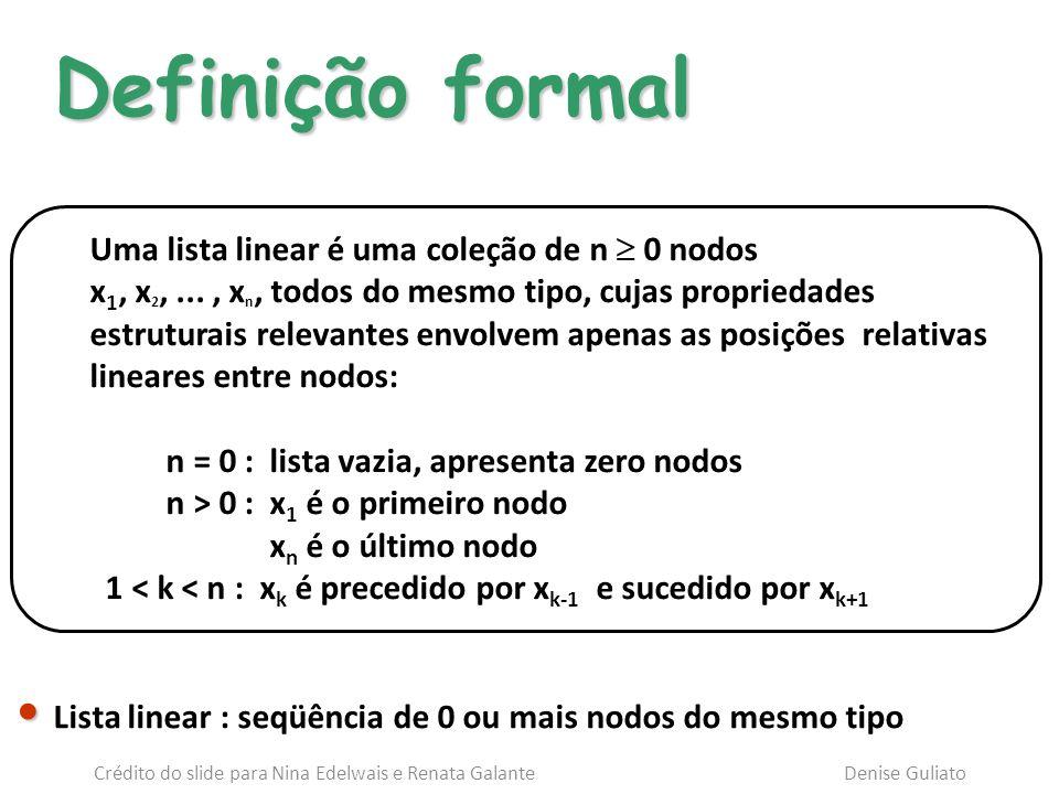Uma lista linear é uma coleção de n 0 nodos x 1, x 2,..., x n, todos do mesmo tipo, cujas propriedades estruturais relevantes envolvem apenas as posiç