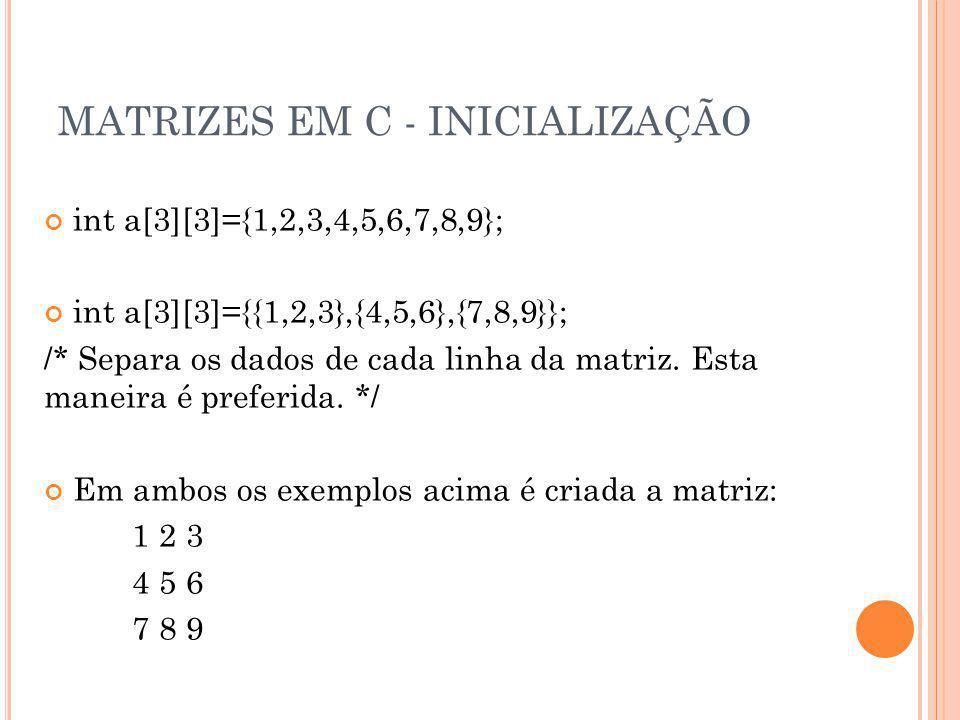MATRIZES EM C - INICIALIZAÇÃO int a[3][3]={1,2,3,4,5,6,7,8,9}; int a[3][3]={{1,2,3},{4,5,6},{7,8,9}}; /* Separa os dados de cada linha da matriz. Esta