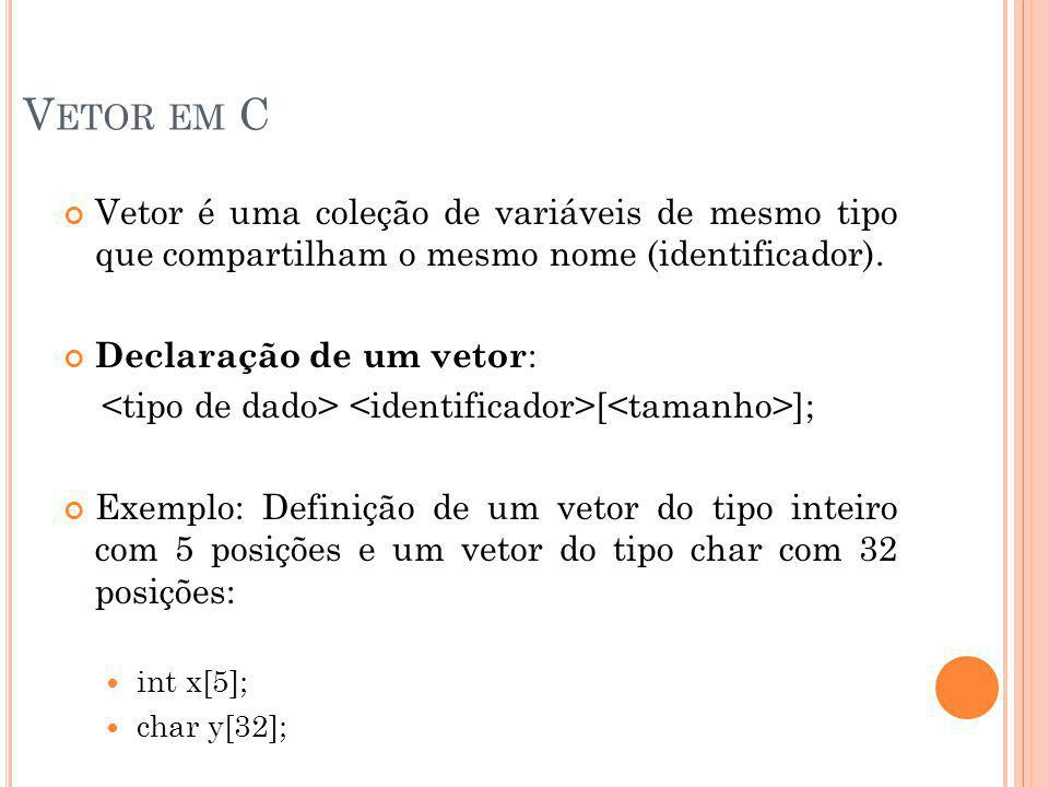 V ETOR EM C Vetor é uma coleção de variáveis de mesmo tipo que compartilham o mesmo nome (identificador). Declaração de um vetor : [ ]; Exemplo: Defin