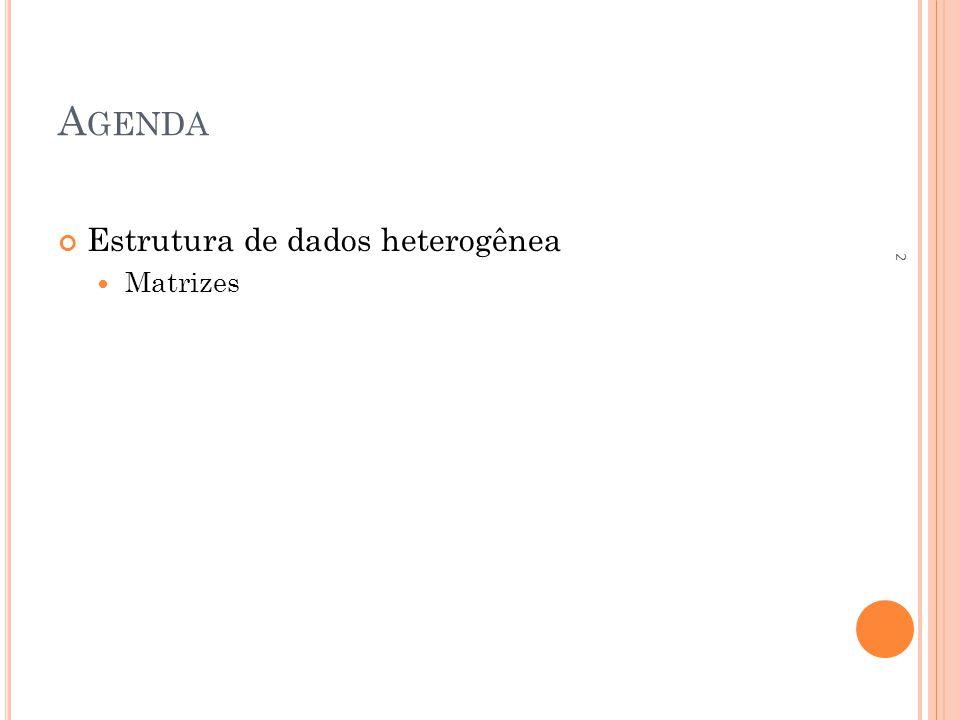 A GENDA Estrutura de dados heterogênea Matrizes 2