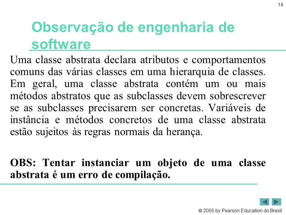 2005 by Pearson Education do Brasil 14 Observação de engenharia de software Uma classe abstrata declara atributos e comportamentos comuns das várias c