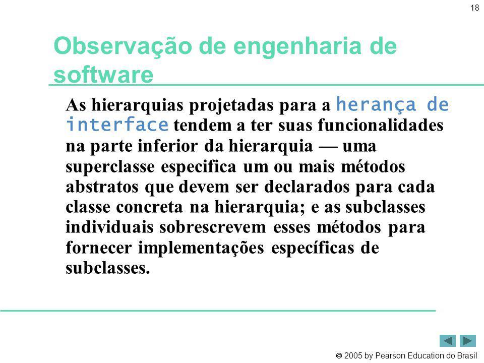 2005 by Pearson Education do Brasil 18 Observação de engenharia de software As hierarquias projetadas para a herança de interface tendem a ter suas fu