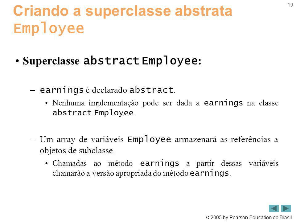 2005 by Pearson Education do Brasil 19 Criando a superclasse abstrata Employee Superclasse abstract Employee : – earnings é declarado abstract. Nenhum