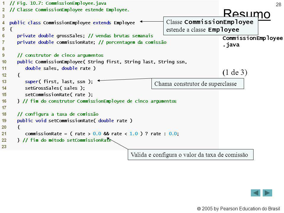 2005 by Pearson Education do Brasil 28 Resumo CommissionEmployee.java (1 de 3) Classe CommissionEmployee estende a classe Employee Chama construtor de