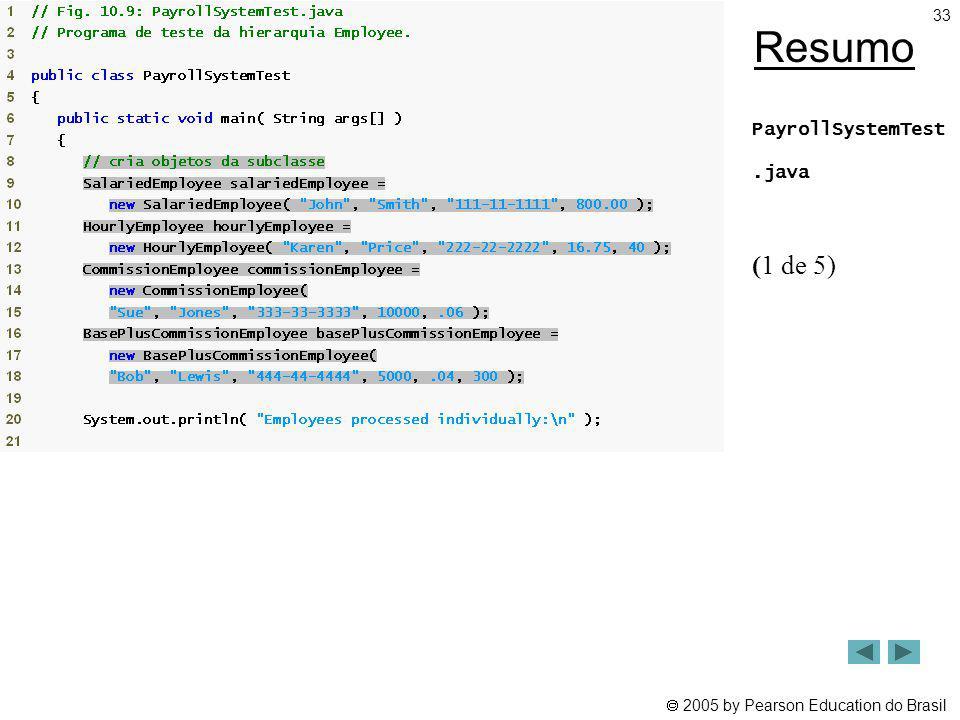 2005 by Pearson Education do Brasil 33 Resumo PayrollSystemTest.java (1 de 5)