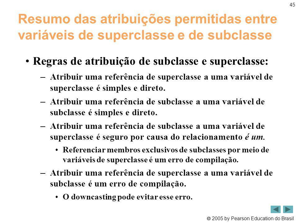 2005 by Pearson Education do Brasil 45 Resumo das atribuições permitidas entre variáveis de superclasse e de subclasse Regras de atribuição de subclas