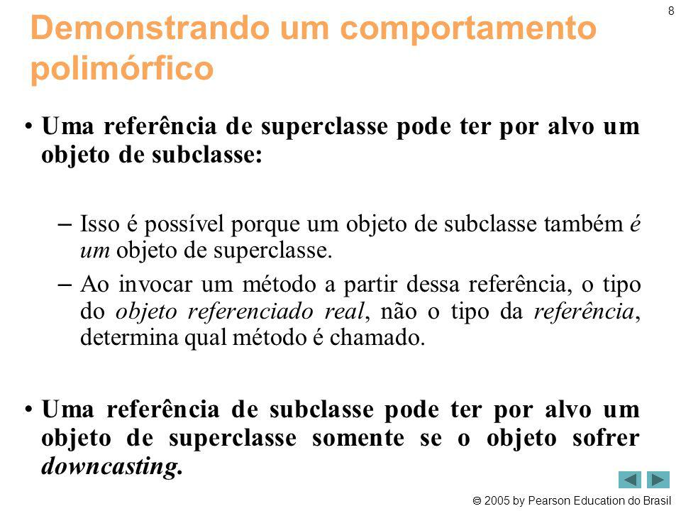 2005 by Pearson Education do Brasil 9 Resumo PolymorphismT est.java (1 de 2) Atribuições de referência típicas