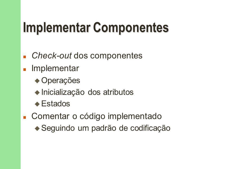 Implementar Componentes n Check-out dos componentes n Implementar u Operações u Inicialização dos atributos u Estados n Comentar o código implementado u Seguindo um padrão de codificação