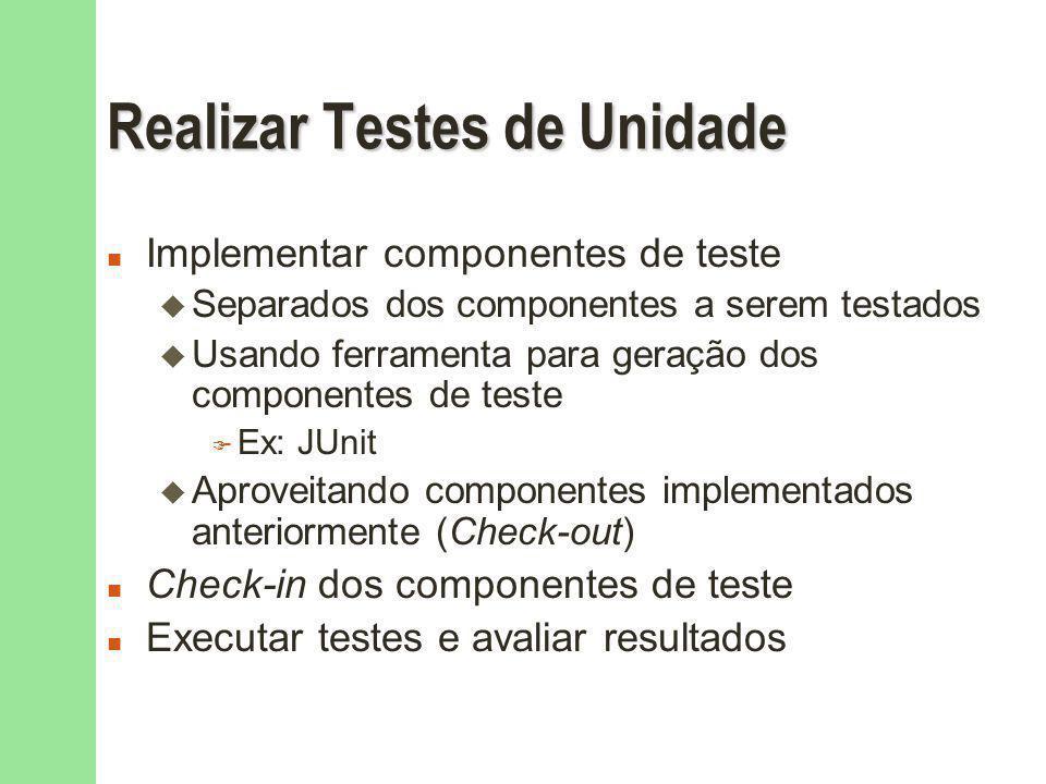 Realizar Testes de Unidade n Implementar componentes de teste u Separados dos componentes a serem testados u Usando ferramenta para geração dos componentes de teste F Ex: JUnit u Aproveitando componentes implementados anteriormente (Check-out) n Check-in dos componentes de teste n Executar testes e avaliar resultados