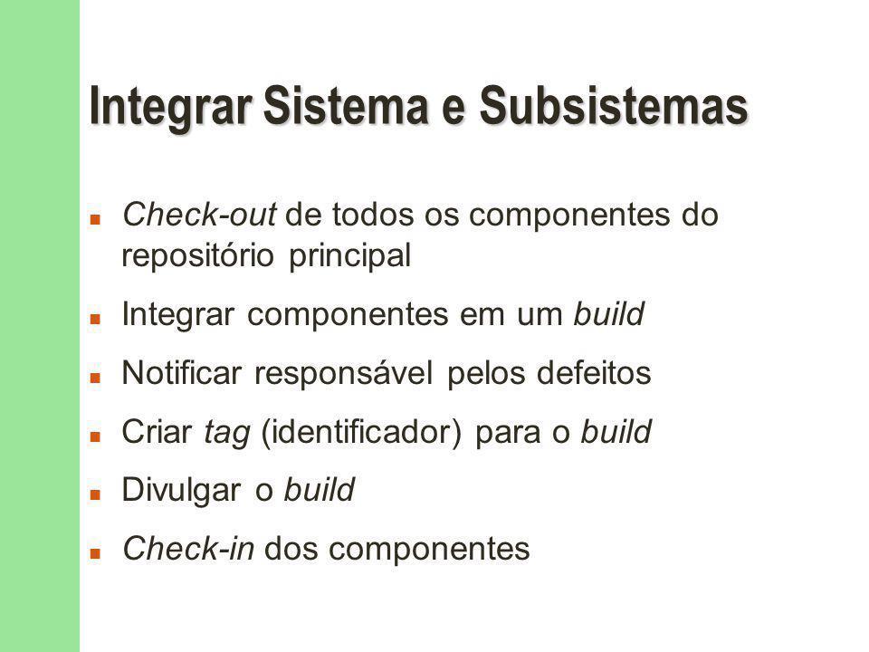 Integrar Sistema e Subsistemas n Check-out de todos os componentes do repositório principal n Integrar componentes em um build n Notificar responsável pelos defeitos n Criar tag (identificador) para o build n Divulgar o build n Check-in dos componentes