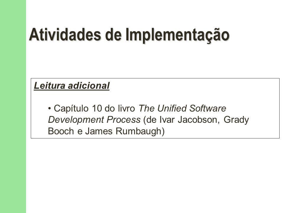 Atividades de Implementação Leitura adicional Capítulo 10 do livro The Unified Software Development Process (de Ivar Jacobson, Grady Booch e James Rum