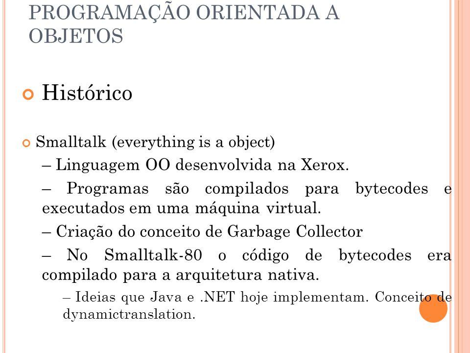PROGRAMAÇÃO ORIENTADA A OBJETOS Histórico Smalltalk (everything is a object) – Linguagem OO desenvolvida na Xerox. – Programas são compilados para byt
