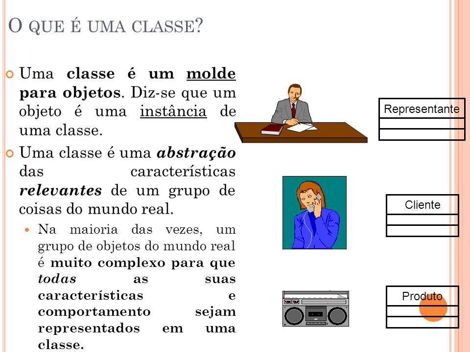 O QUE É UMA CLASSE ? Uma classe é um molde para objetos. Diz-se que um objeto é uma instância de uma classe. Uma classe é uma abstração das caracterís