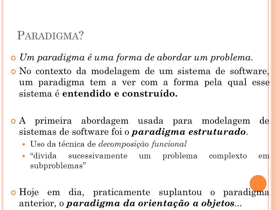 P ARADIGMA ? Um paradigma é uma forma de abordar um problema. No contexto da modelagem de um sistema de software, um paradigma tem a ver com a forma p