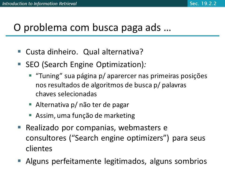 Introduction to Information Retrieval O problema com busca paga ads … Custa dinheiro. Qual alternativa? SEO (Search Engine Optimization): Tuning sua p