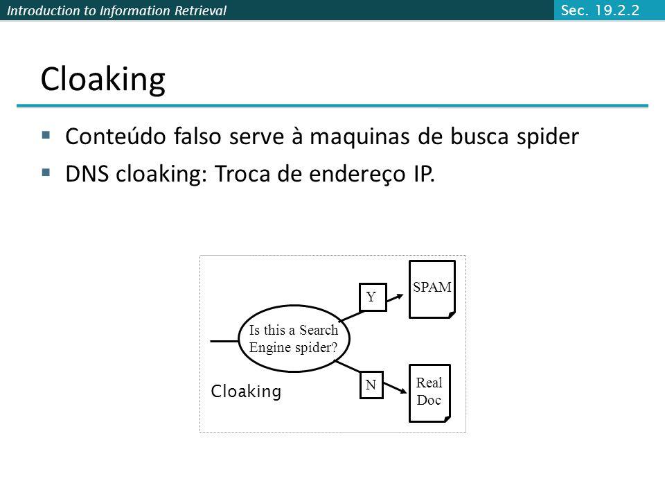 Introduction to Information Retrieval Cloaking Conteúdo falso serve à maquinas de busca spider DNS cloaking: Troca de endereço IP. Is this a Search En