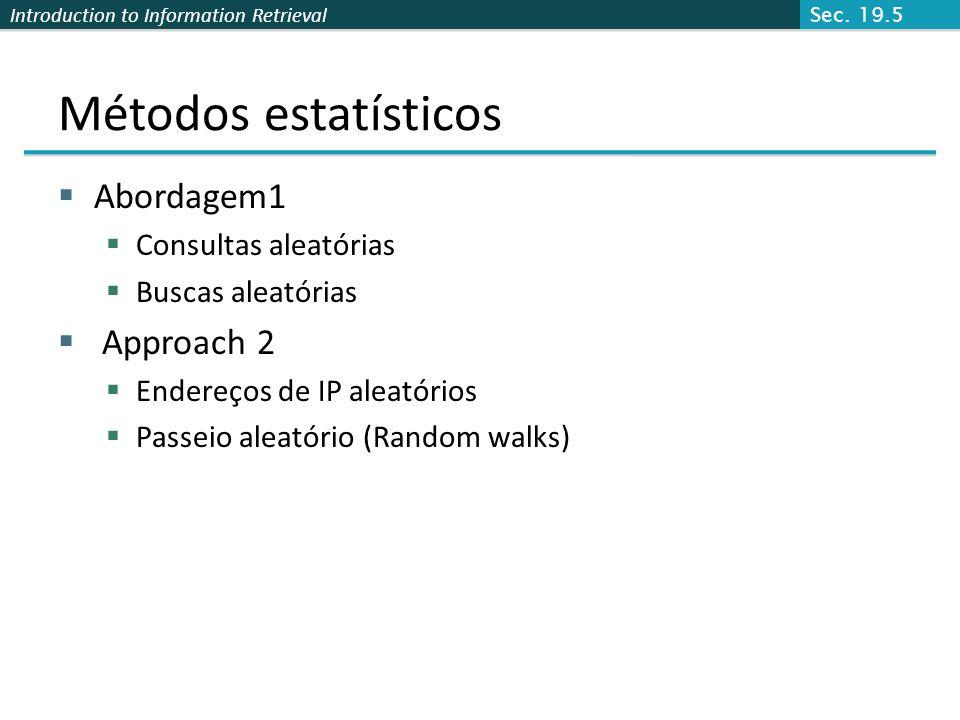 Introduction to Information Retrieval Métodos estatísticos Abordagem1 Consultas aleatórias Buscas aleatórias Approach 2 Endereços de IP aleatórios Pas