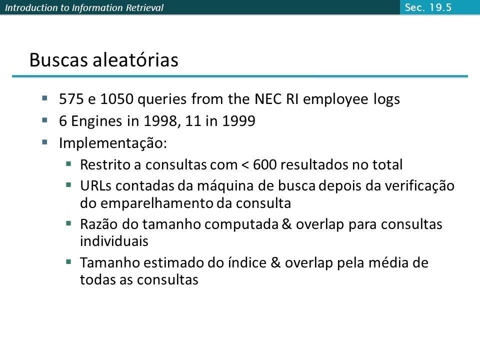 Introduction to Information Retrieval Buscas aleatórias 575 e 1050 queries from the NEC RI employee logs 6 Engines in 1998, 11 in 1999 Implementação: