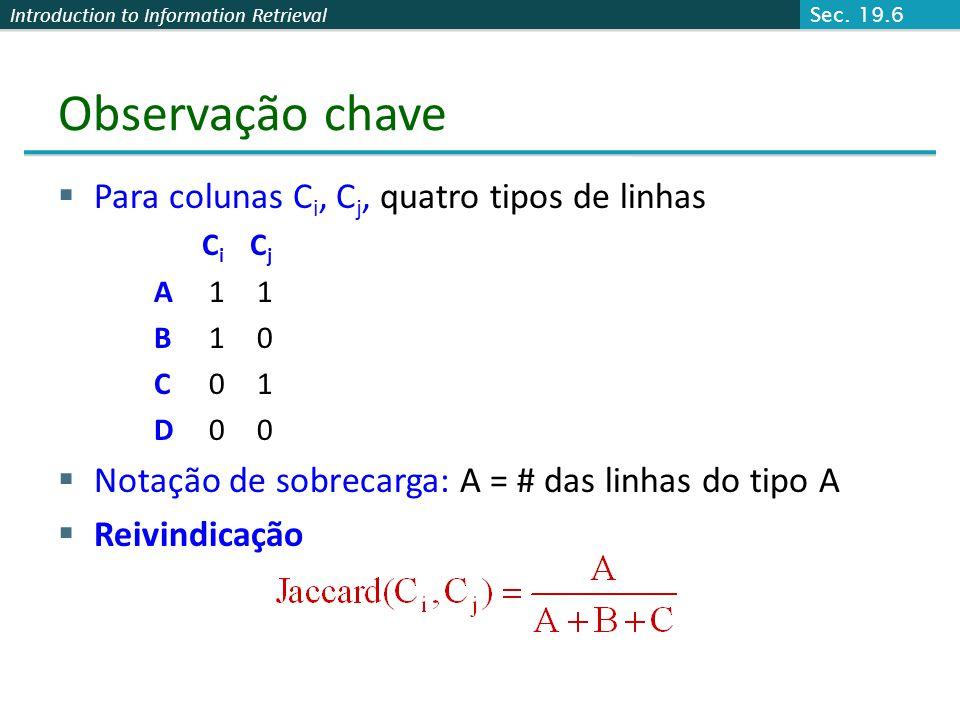 Introduction to Information Retrieval Observação chave Para colunas C i, C j, quatro tipos de linhas C i C j A 1 1 B 1 0 C 0 1 D 0 0 Notação de sobrec